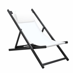 CHILIENNE PLIANTE INCLINABLE EN ALUMINIUM CHILI2 WHITE+DARK GRAY MOBILIER RAINEAU